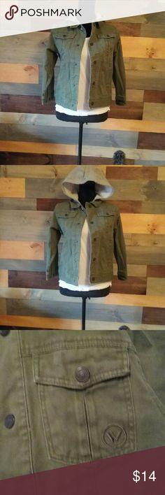 Military green canvas/jean jacket with hood Soft and comfortable. Size medium but has no tags as tag was itchy so I removed it. Shaun White for Target  Jackets & Coats