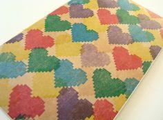 Pixel Rainbow Hearts large moleskine lined by blackbirdandpeacock, $14.00