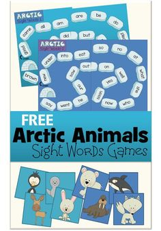 FREE Arctic Animals Sight Word Game
