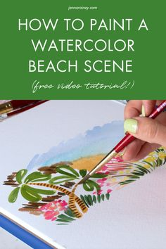 How to paint a beach scene watercolor. Lately I've been painting and posting these loose, strokey, flowy landscapes and the feedback I've gotten from all of you has been incredible. I'm here to teach you how it's done from inspiration photos to color palettes and final creation. Beach Watercolor, Watercolor Design, Watercolor Paintings, Happy Little Trees, Step By Step Watercolor, Awkward Funny, Pebble Painting, Beach Scenes, Watercolor Techniques