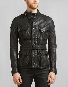 01e0066625 A burnished black leather jacket with heritage Belstaff detailing and four  pocket design. Shop the Speedmaster 2016 jacket from Belstaff .
