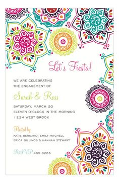 English Paper Company Indie Floral Bright Invitation : Fiesta Party Invitations | PolkaDotDesign.com