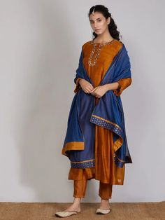 Mustard Yellow Embroidered Chanderi Silk Suit with Blue Dupatta- Set of 3 Silk Suit, Silk Pants, Silk Dress, Indian Designer Outfits, Indian Outfits, Bridal Outfits, Girl Outfits, Kurti Embroidery Design, Kurti Patterns