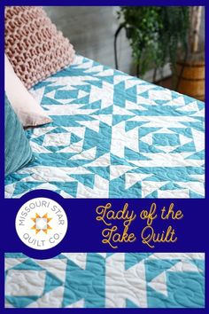 """Jenny Doan demonstrates how to make a stunning 2-color quilt called """"Lady of the Lake."""" This quilt is made with 10 inch squares of precut fabric (layer cakes). This is an antique quilt pattern that dates to the early 19th century, but Jenny has made it quick and easy with nothing but half-square triangles. Follow the link below to watch the free quilt tutorial now! #MissouriStarQuiltCo #LadyoftheLakeQuilt #ColorLoveBlueberry #Quilt #QuiltTutorial Half Square Triangles, Squares, Picnic Blanket, Outdoor Blanket, Missouri Star Quilt, Color Of The Year, Quilt Tutorials, 2 Colours, Quilt Patterns"""