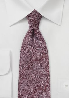 Burgundy and Silver Paisley Tie, $20 | Cheap-Neckties.com