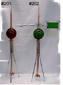 Antique Scroll Victorian Lightning Rod Green Glass