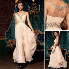 Elegant New A-line Deep V-neck Beading Floor-Length Chiffon Long Dress Party Evening Empire Abendkleid