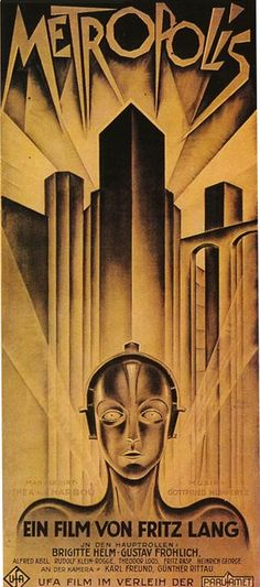 A poster for the 1920's movie Metropolis. Showcasing the best in early graphic design, a real contrast to today's photographic image-based work.