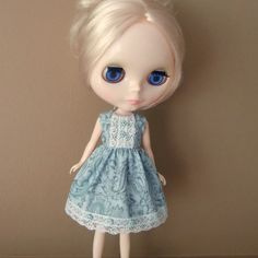 Blue & Grey Paisley Summer Dress for Blythe by myfairdolly on Etsy, $12.00