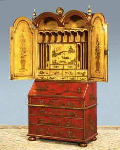 Chinoiserie is a style of decorating with Chinese influence. It is most recognized by Chinese motifs, often including flowers and birds. Antique Chinese Furniture, Asian Furniture, Oriental Furniture, Furniture Decor, Painted Furniture, Furniture Design, Furniture Online, Chinoiserie Wallpaper, Chinoiserie Chic