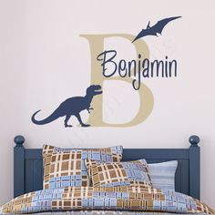 Boys Name Decal – Custom Dinosaur Wall Decal – Tyrannosaurus Rex and Pterodactyl – Baby Boys Room T Rex Vinyl Wall Sticker - Baby Boy Names Baby Girl Names