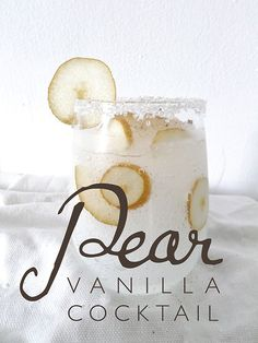 Pear Vanilla Cocktail INGREDIENTS ♦ 1 ounce of Van Gogh vanilla vodka ♦ 1 ounce of pear vodka ♦ Club soda (to fill glass) ♦ small Bosc pear ♦ Sanding sugar (for garnish) ♦ Nutmeg, fresh ♦ Ice, shaved Party Drinks, Cocktail Drinks, Fun Drinks, Yummy Drinks, Cocktail Recipes, Alcoholic Drinks, Beverages, Holiday Cocktails, Cocktail Ideas