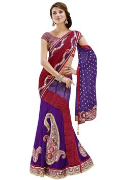 Buy Purple And Maroon Net And Chiffon Lehenga Style Saree,Online Saree Shopping Lehenga Style Saree, Lehenga Saree, Net Saree, Ghagra Choli, Bridal Lehenga, Bollywood Designer Sarees, Indian Designer Sarees, Latest Indian Saree, Latest Sarees
