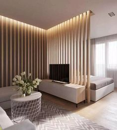 80 Gorgeous Studio Apartment Divider Decor Ideas And Remodel Small Apartment Bedrooms, Apartment Interior, Small Apartments, Apartment Living, Small Spaces, Apartment Ideas, Studio Apartments, Room Interior, Studio Apartment Divider