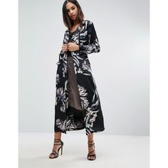 Missguided Floral Print Duster Coat (755 ZAR) ❤ liked on Polyvore featuring outerwear, coats, duster coat, floral coat, floral print coat, zip coat and tall coats