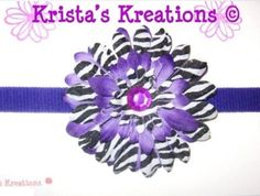 ‪#‎SZ03‬: Mini Purple Zebra Gerbera;  Purple Rhinestone; Purple Headband https://www.facebook.com/KristasKreationsEtc