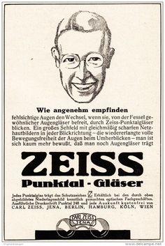 Original-Werbung/ Anzeige 1925 - ZEISS PUNKTAL-GLÄSER / CARL ZEISS JENA  - ca. 80 x 130 mm