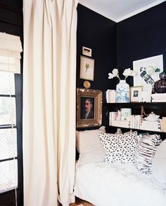 Decor Photo - Black walls and white furniture and curtains in an office