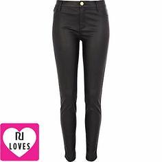 Black leather look skinny trousers - skinny / super skinny trousers - trousers - women