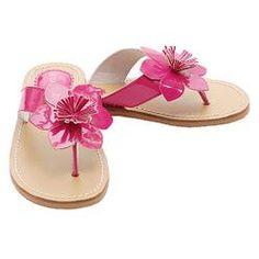 IM Link Fuchsia Flower Flip Flops Spring Sandals Shoes Toddler Little Girls 7-4