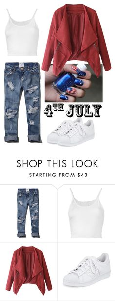 """""""Festive Look"""" by marivs ❤ liked on Polyvore featuring Abercrombie & Fitch, Lost & Found, adidas, redwhiteandblue, casualoutfit, contestentry and july4th"""