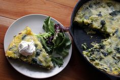 This leek and Parmesan frittata came about because I can't stop myself from buying those cartons of 18 eggs at the grocery store. I managed to plow through 6 of them over the course of two weeks, but