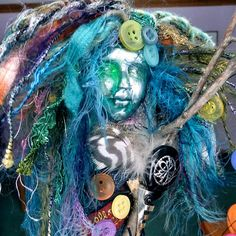 OOAK Art Doll Mixed Media Assemblage: Rainbow Catcher