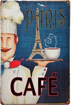 This vintage sign is for any coffee and Paris lovers. The poster features the Eiffel Tower and will fit right in with any 50s retro themed kitchen.