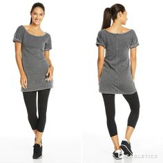 Rock a casual shift dress with leggings for a comfortable weekend outfit.