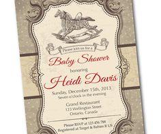 Rocking Horse Baby Shower Invitation. Retro Horse Toy. by arthomer, $10.00