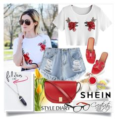 """""""SHEIN  1/3"""" by creativity30 ❤ liked on Polyvore featuring Victoria Beckham, Ray-Ban and Supergoop!"""