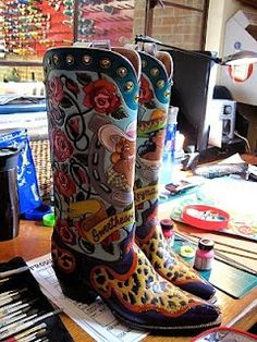A work of art!  Custom-made boots at Rocketbuster Boots in El Paso, TX.