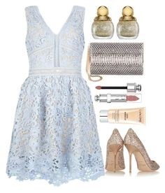 """""""Lace Dress"""" by grinevagh ❤ liked on Polyvore featuring Jimmy Choo, Christian Dior and Lancôme"""
