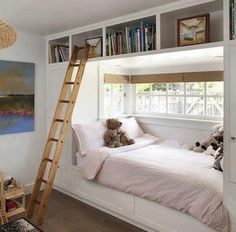 kids room design with built in beds and daybeds. Lots of ideas for bunks on this site.