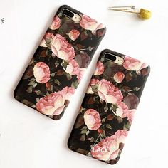 Fashion Phone Cases Cover For iphone 7 Case Retro Flowers Hard PC Capa Beautiful Cartoon Floral Case For iphone7 6 6S Plus Coque