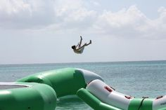 Seven Mile Beach: Launching off the inflatable... Grand Cayman Islands #travel