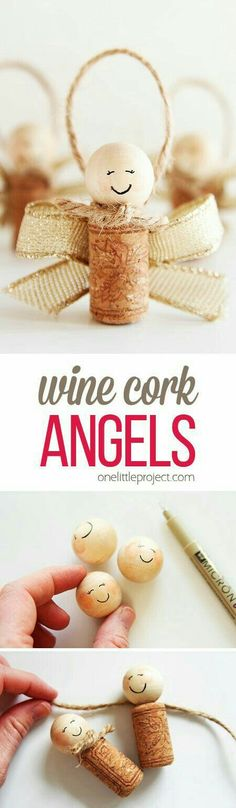 Christmas DIY: These wine cork ange These wine cork angels are SO EASY to make and they're such a sweet homemade Christmas ornament idea! They'd also make super cute gift tags on presents too! Noel Christmas, Diy Christmas Ornaments, Homemade Christmas, Diy Christmas Gifts, Christmas Projects, Christmas Decorations, Homemade Ornaments, Christmas Vacation, Christmas Balls