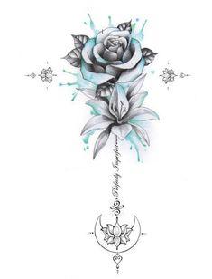 Perfectly Imperfect Rose, Lily, Moon Unalome Tattoo – flower tattoos designs – tattoo tatuagem - Famous Last Words Pretty Tattoos, Cute Tattoos, Beautiful Tattoos, Body Art Tattoos, Hand Tattoos, Girl Spine Tattoos, Inside Arm Tattoos, Tattoo On Hip, Tattoo Spine