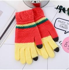 Cheapest Gloves Fashion Winter Style for Touch Screen Separated Fingers Knitted Color Block Unisex Gloves Rose& Yellow
