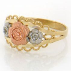 14k Solid Gold Tri-color Flower Rose Ring Jewelry. Made in USA!. Made with Real 14k Gold. Comes with FREE fancy black leatherette ring box!.
