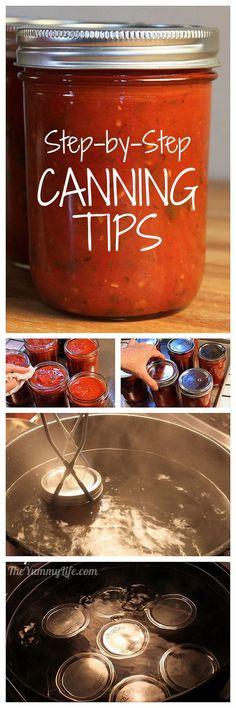 Step-By-Step Canning Tips - A photo tutorial of water process canning for beginners.