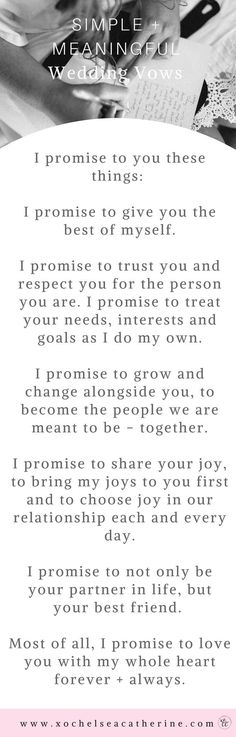 Wedding Planning simple and meaningful wedding vows - Happy Wedding Wednesday! I hope you're having a great week so far! It's been CRAZY for Cody and me lately with house stuff, going through stuff to pack. Wedding Vows To Husband, Our Wedding, Dream Wedding, Wedding Stuff, Trendy Wedding, Wedding Ceremony, Destination Wedding, Crazy Wedding, Wedding Readings
