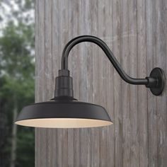 Black Gooseneck Barn Light with 14-Inch Shade   BL-ARMC-BLK/SH14-BLK   Destination Lighting Gooseneck Lighting Outdoor, Outdoor Barn Lighting, Garage Lighting, Outdoor Walls, Ceiling Trim, Ceiling Decor, Ceiling Fixtures, Light Fixtures, Drum Shade