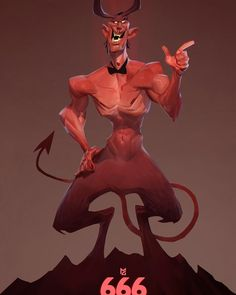 My 666th post here on Instagram! I thought this subject was fitting for the occasion! #drawing #digital #art #illustration #devil #666 #satan #character #concept #grecke