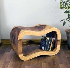 """Natural Wood Wave Bench #Thai #Furniture 24"""" x 13.5"""" x 15"""" Monkey Pod wood hand carved out like undulating waves made to sit on from the ends. Use for storage also! Stylish wood furniture imported from Thailand. A little bit of Asia as an accent to your western theme or compliment a traditional far eastern theme."""