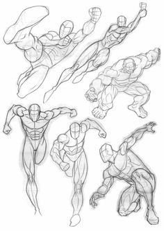 Human Figure Drawing Reference The 'Hulk' kinda character and the guy kneeling in the bottom right hand corner I drew from scratch whereas the other guys were based on Jim Lee stuff t. From The Sketchbook 1 - Anatomy Sketches, Anatomy Art, Anatomy Drawing, Drawing Sketches, Art Drawings, Comic Drawing, Human Anatomy, Human Figure Drawing, Figure Sketching