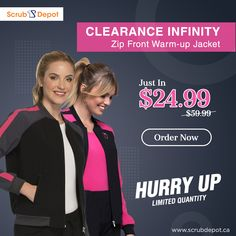 Clearance Infinity Zip Front Warm-up Jacket Cherokee Woman, Medical Uniforms, Cardigan Fashion, Sporty Look, Princess Seam, Stretch Pants, Hospitals, Cuff Sleeves, Breast Cancer Awareness