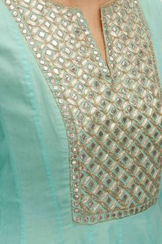 Anita Dongre presents Aqua gota patti embroidered suit available only at Pernia's Pop-Up Shop. Salwar Designs, Kurta Designs Women, Blouse Designs, Dress Designs, Indian Attire, Indian Wear, Indian Outfits, Gota Patti Suits, Kurta Neck Design