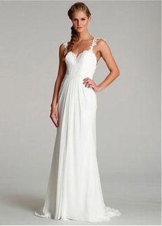 Alluring Tulle   Chiffon Spaghetti Straps Neckline Sheath Wedding Dresses  with Lace Appliques Designer Wedding Dresses 688f39b4949d