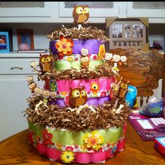 Owl diaper cake... love it!!!